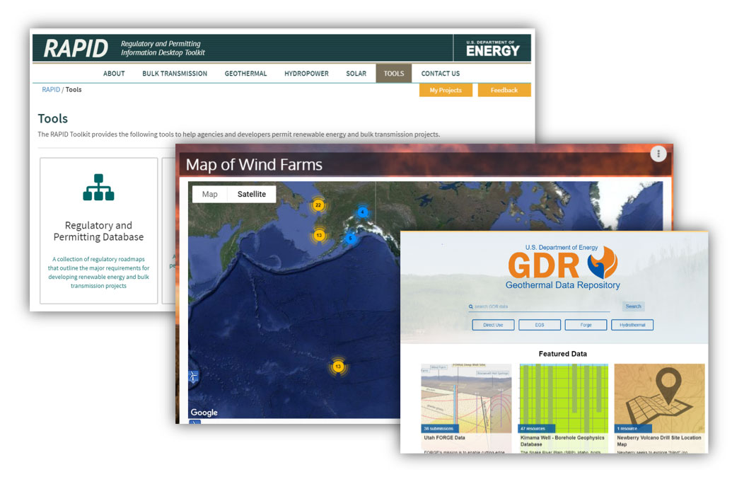 Screenshots of Geothermal Data Repository (GDR), Map of US Wind Farms, and Regulatory and Permitting Information Desktop Toolkit (RAPID)